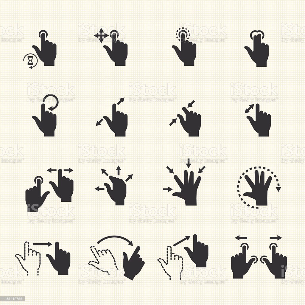 Gesture icons for touch devices royalty-free stock vector art