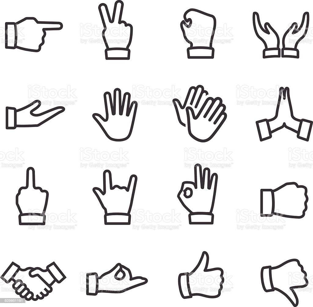 Gesture Icons - Line Series vector art illustration