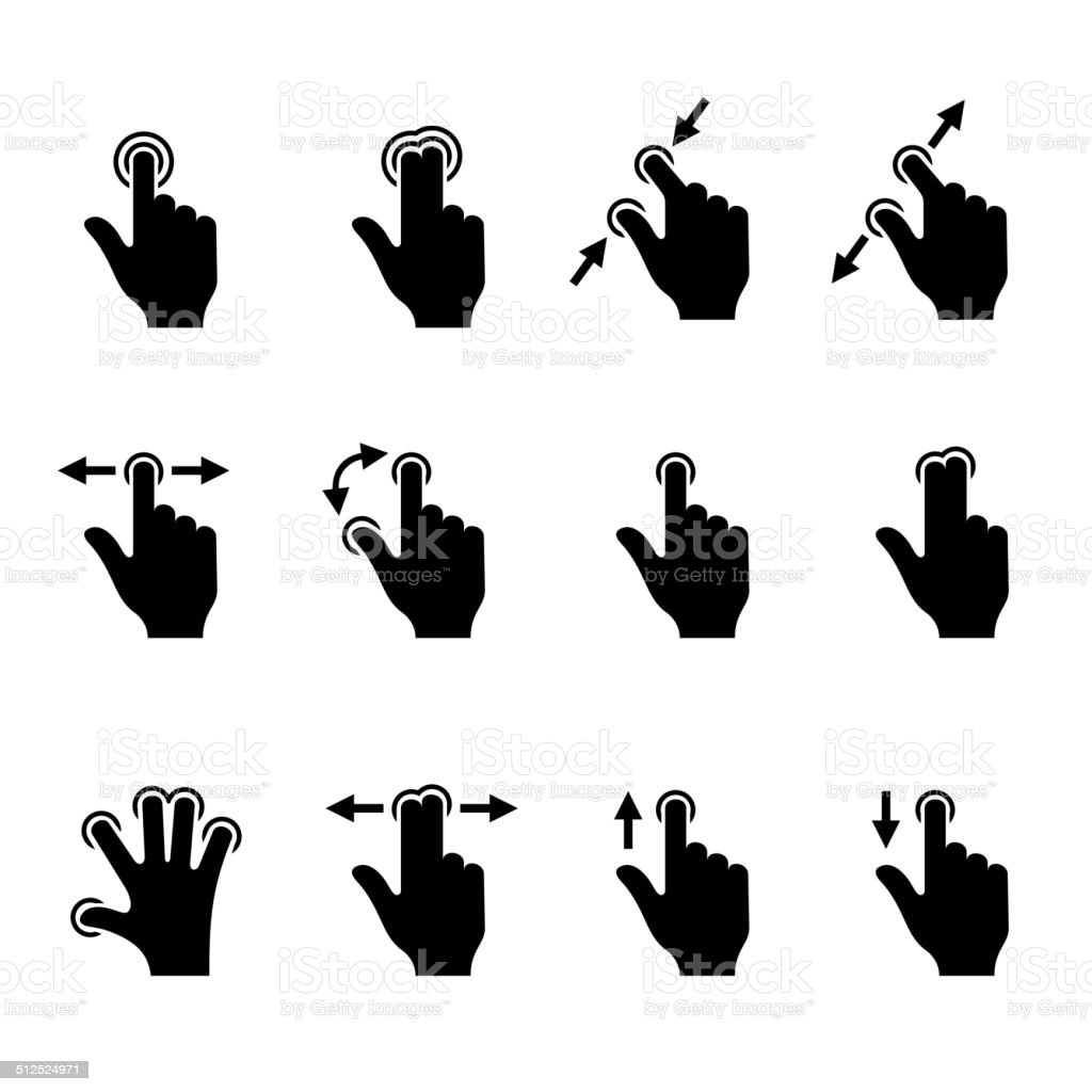 Gesture Icons Set for Mobile Touch Devices. Vector royalty-free stock vector art