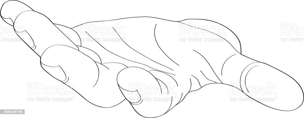 Gesture open palm. Black hand gives or receives. Vector illustration on white background. Empty space for advertising vector art illustration