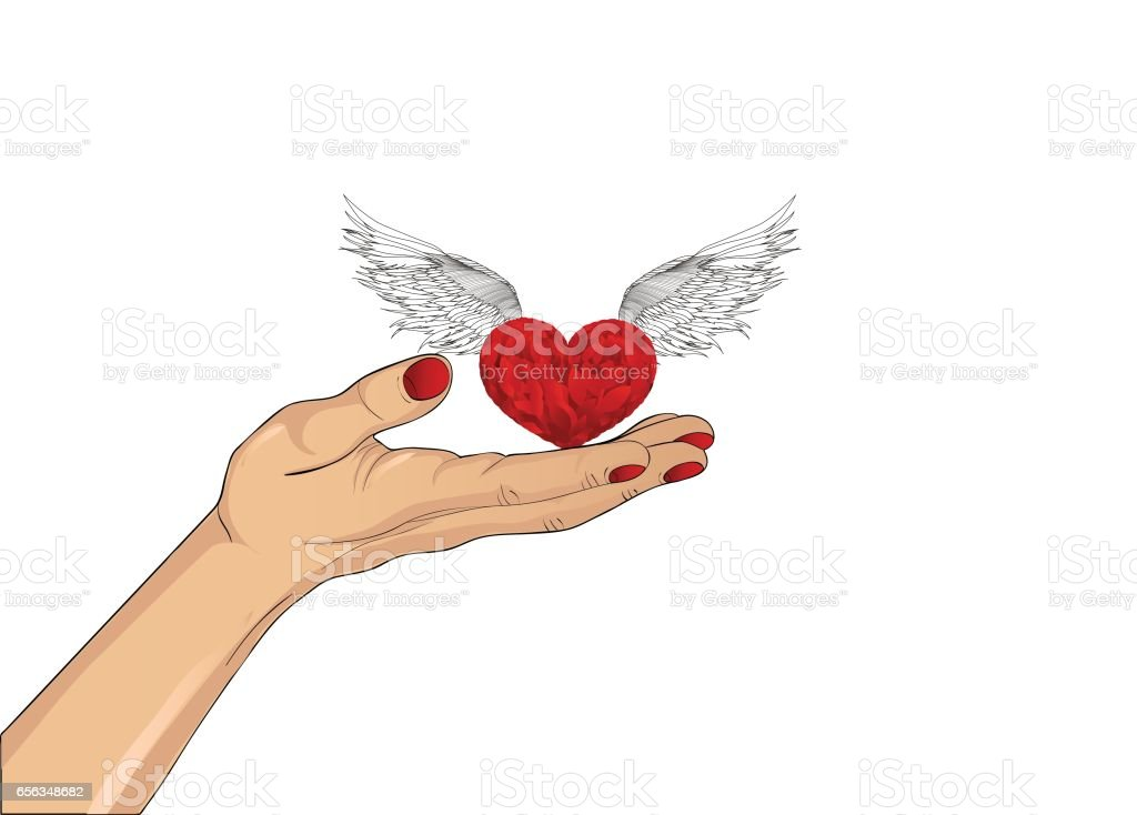 Gesture open palm. Hand gives heart with wings. St. Valentine's Day. The concept of love. Vector illustration on white background vector art illustration