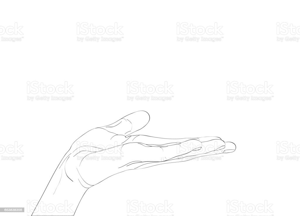 Gesture open palm. Hand gives or receives. Contour graphic style. Black and white. Vector illustration on white background. Empty space for advertising vector art illustration
