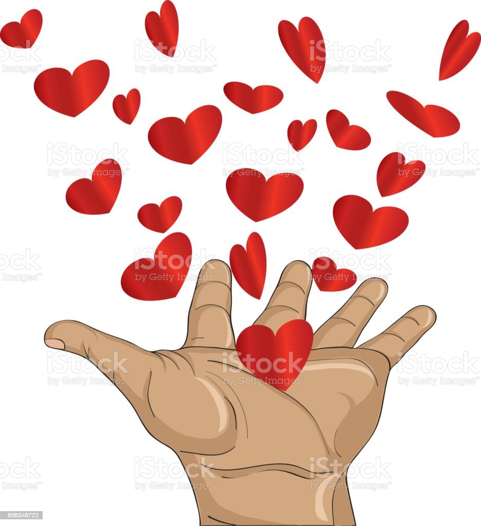 Gesture open palms. From stacked hands fly red heart. Vector illustration. Valentine's Day. love concept vector art illustration