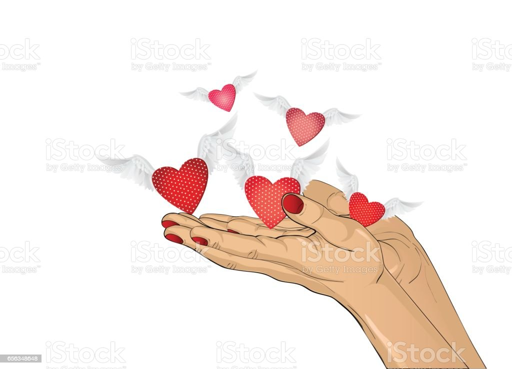 Gesture open palms. From stacked hands fly red heart with wings. Vector illustration. Valentine's Day. love concept. Greeting card vector art illustration