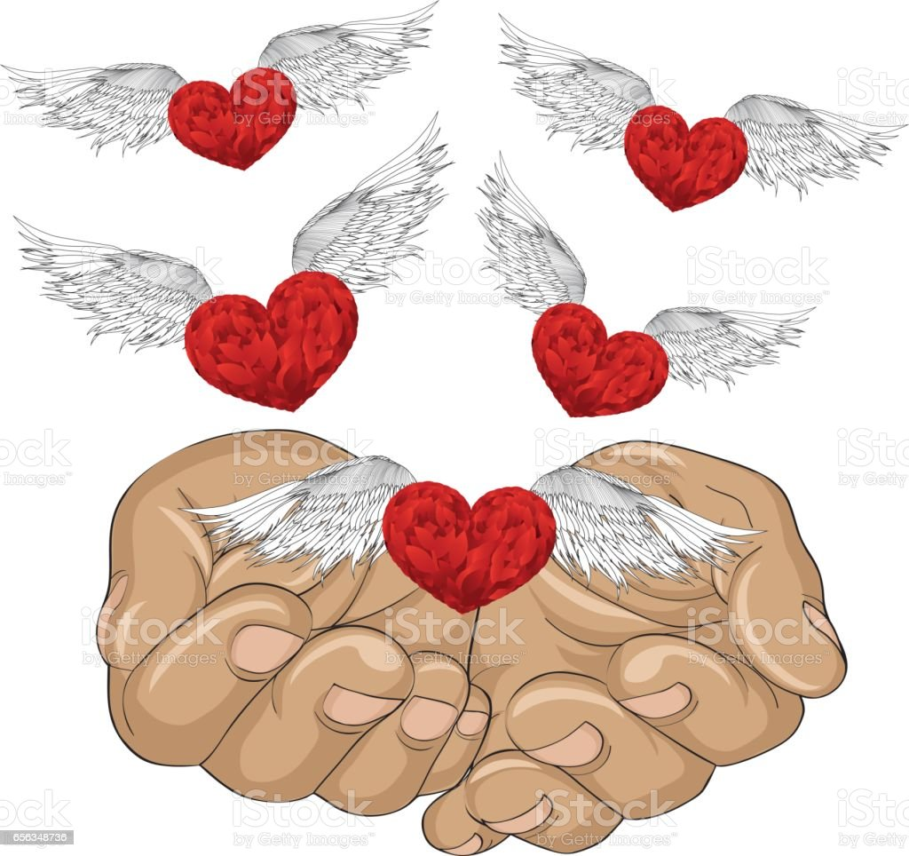 Gesture open palms. From stacked hands fly red heart with wings. Vector illustration. Valentine's Day. love concept vector art illustration