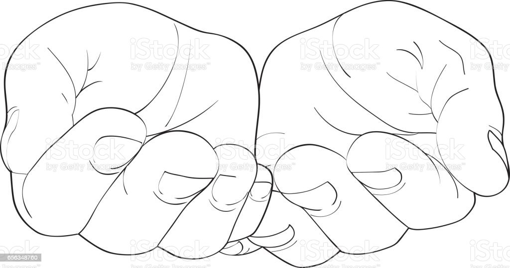 Gesture open palms. Hands gives or receives. Vector illustration on white background. Empty space for advertising vector art illustration