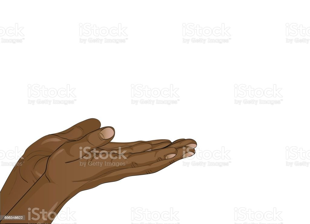 Gesture open palms. Two black Hand gives or receives. Vector illustration on white background. Empty space for advertising vector art illustration