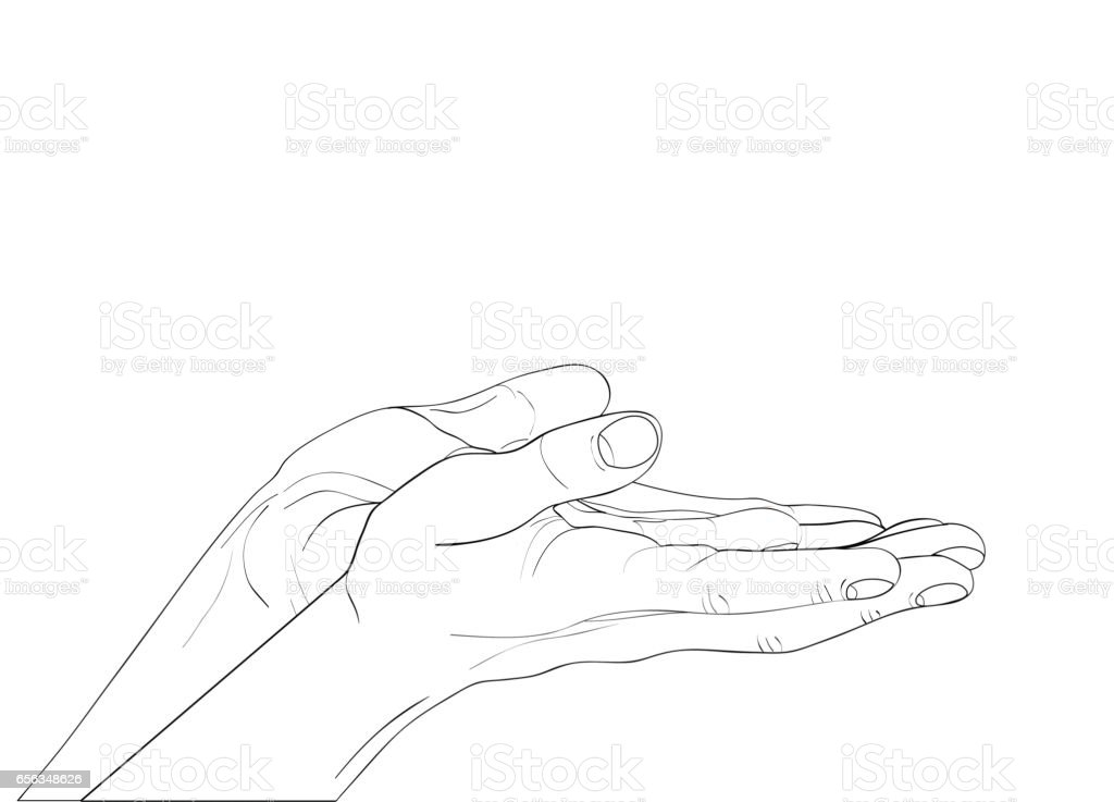 Gesture open palms. Two Hand gives or receives. Contour graphic style. Black and white. Vector illustration on white background. Empty space for advertising vector art illustration