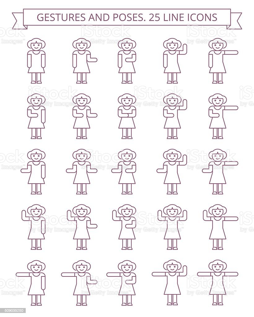 Gestures and poses line icons #2 vector art illustration