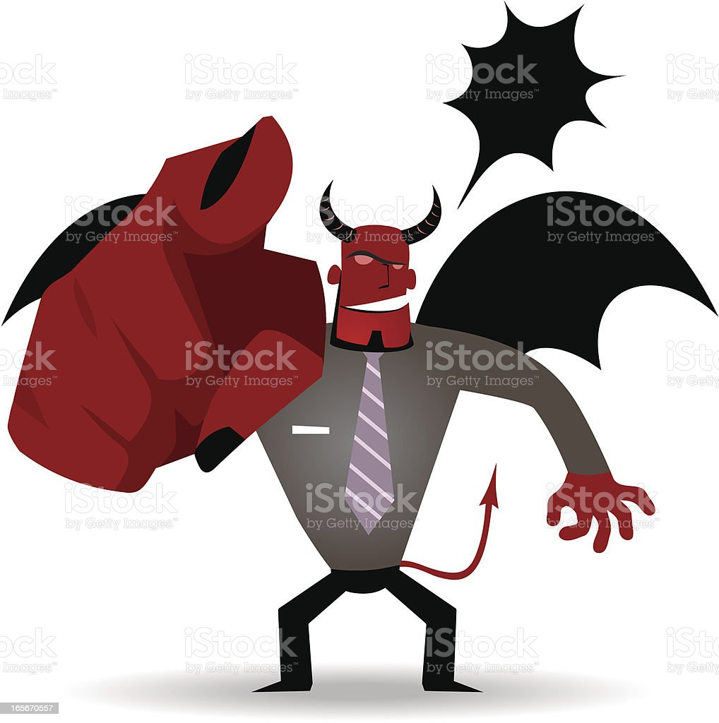 Gesturing(Hand Sign): Business demon (Evil Businessman) pointing a finger royalty-free stock vector art