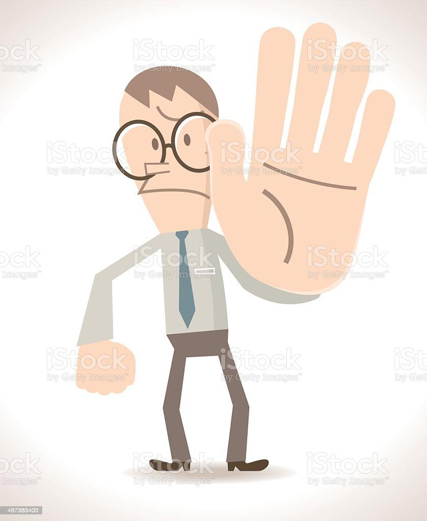 Gesturing (Hand Sign): Businessman( teacher ) showing stop!( Hold On! No! ) vector art illustration