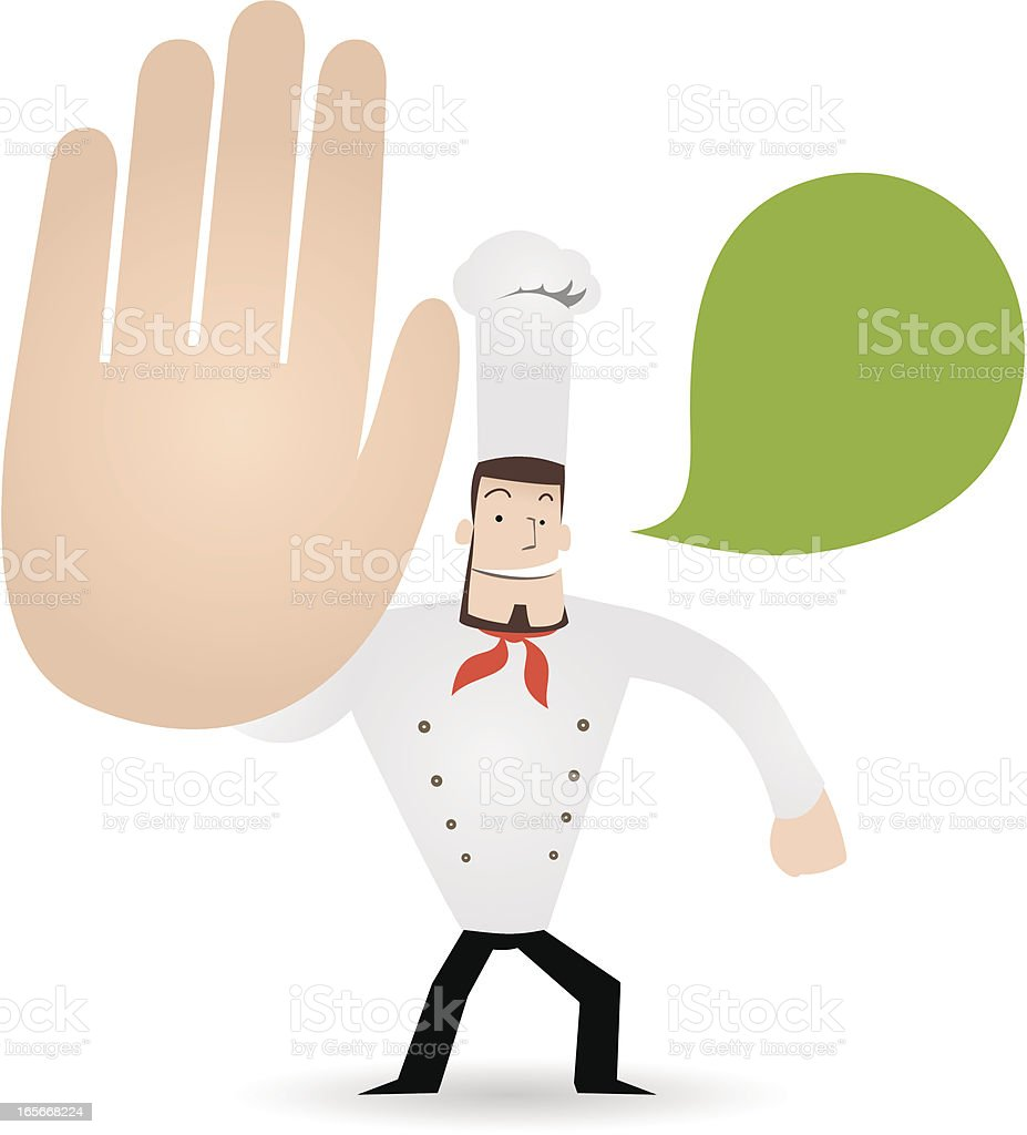 Gesturing(Hand Sign): Chef showing a stop gesture ( No! Don't! ) royalty-free stock vector art
