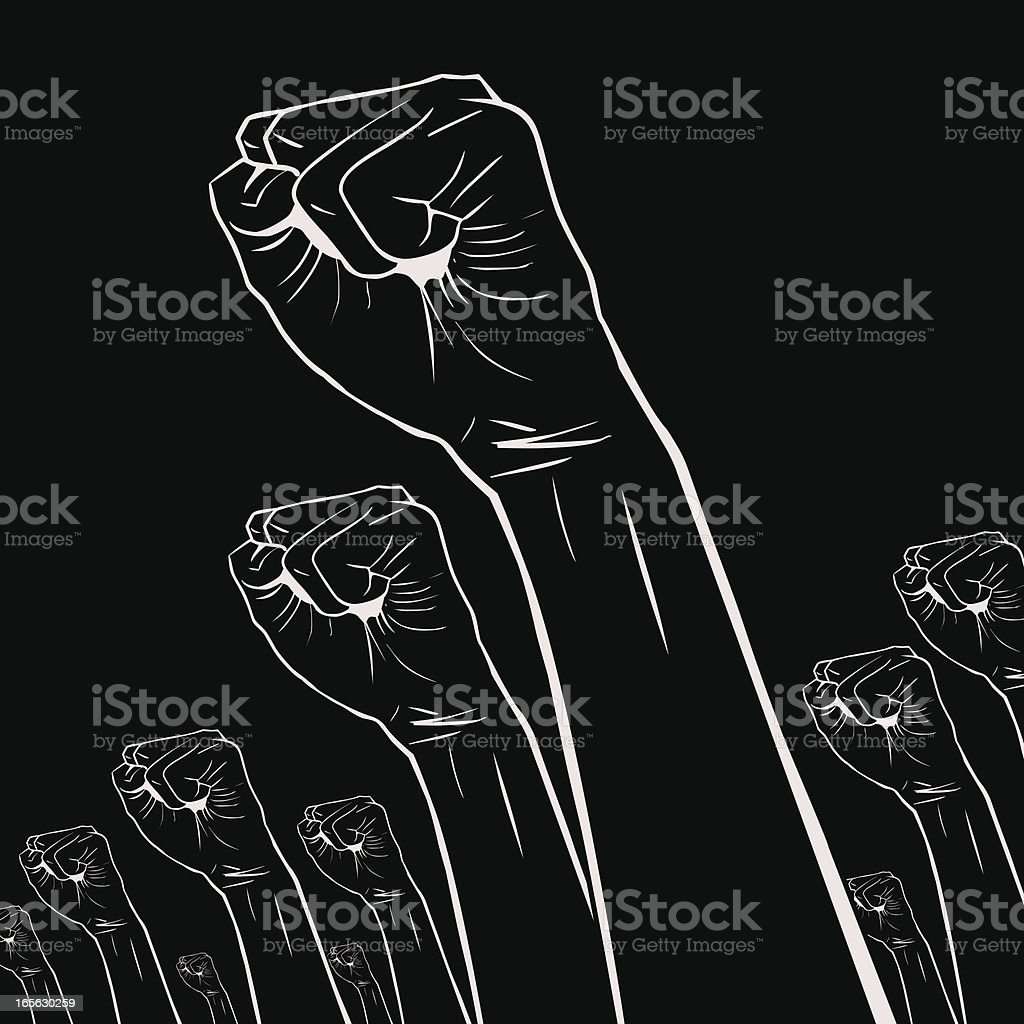 Gesturing(Hand Sign): Clenched fists held high in protest vector art illustration