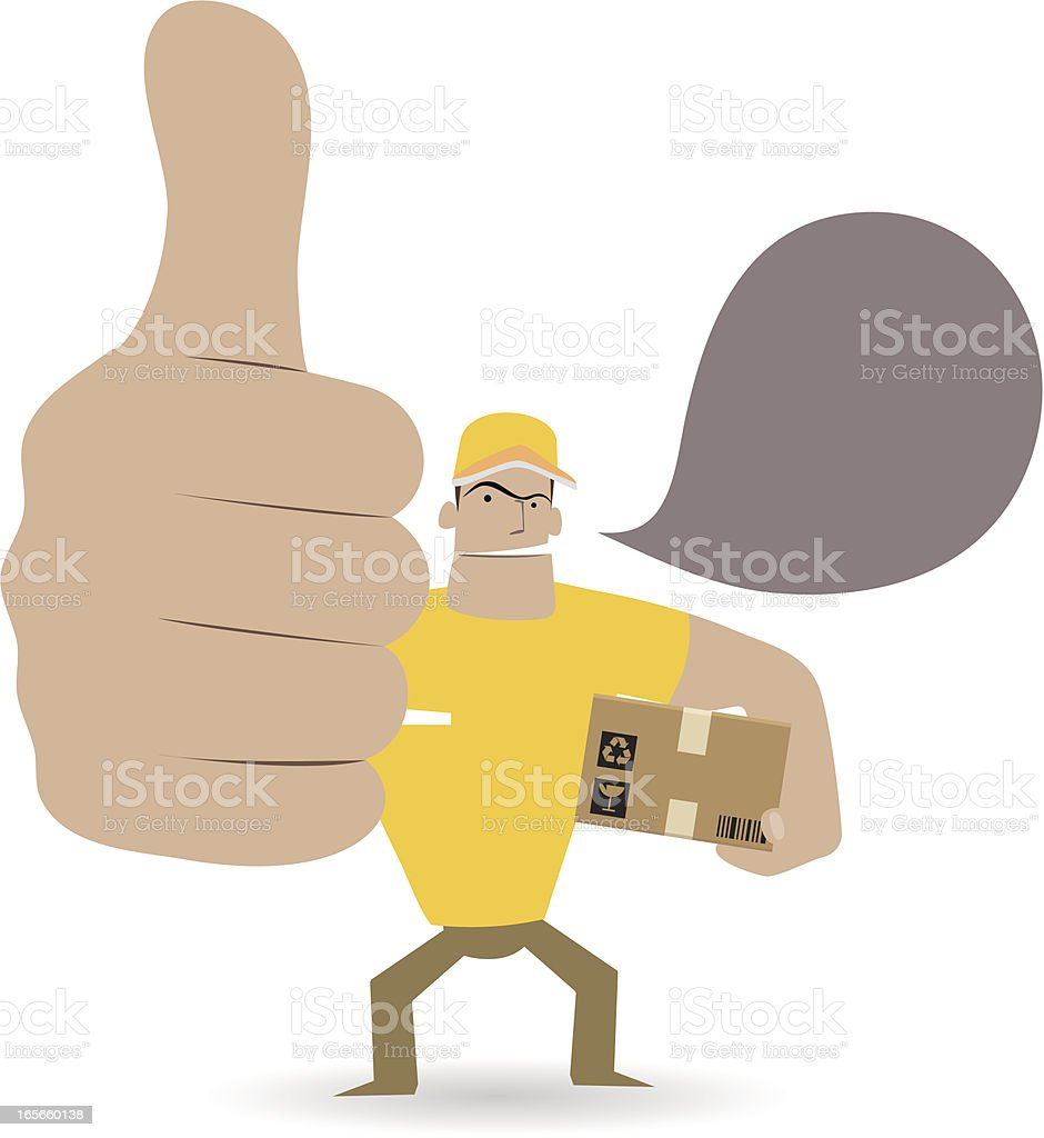Gesturing(Hand Sign): Deliveryman showing thumbs up royalty-free stock vector art
