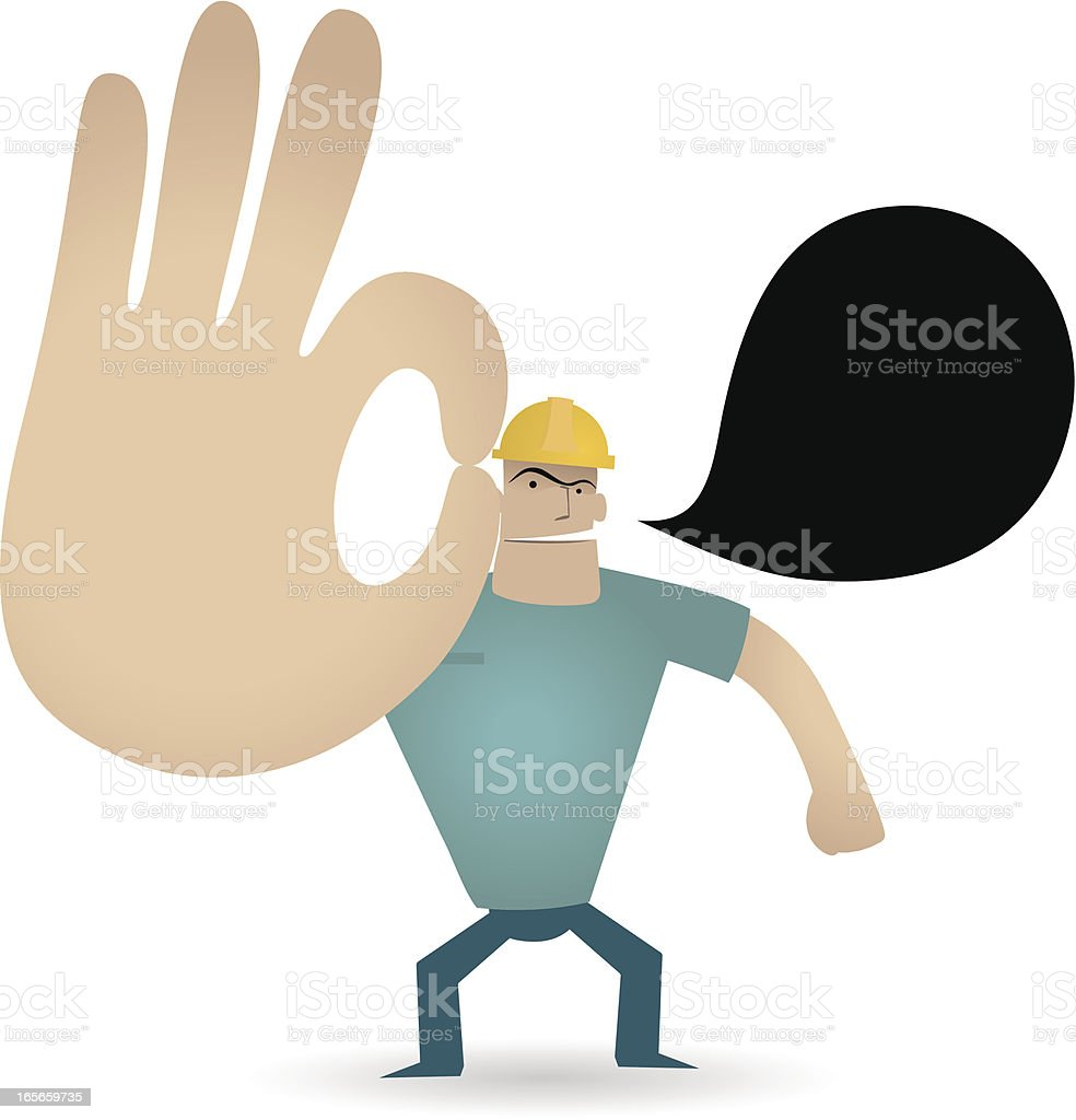 Gesturing(Hand Sign): Foreman showing ok gesture royalty-free stock vector art