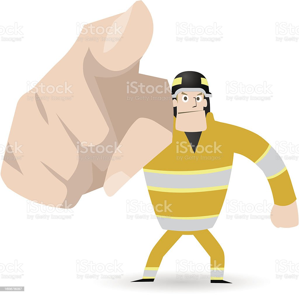 Gesturing, Hand Sign: Fireman pointing a finger! point at you vector art illustration