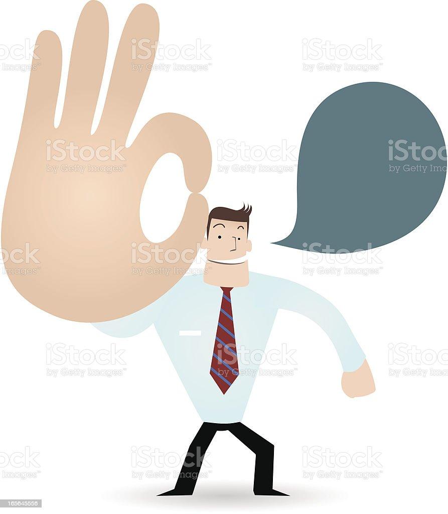 Gesturing(Hand Sign): Happy businessman ( teacher ) showing ok gesture( Perfect! ) vector art illustration