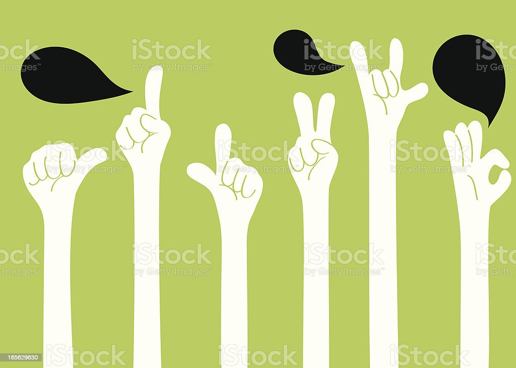 Gesturing(Hand Sign): I love you, ok, good, one, two, YA! royalty-free stock vector art