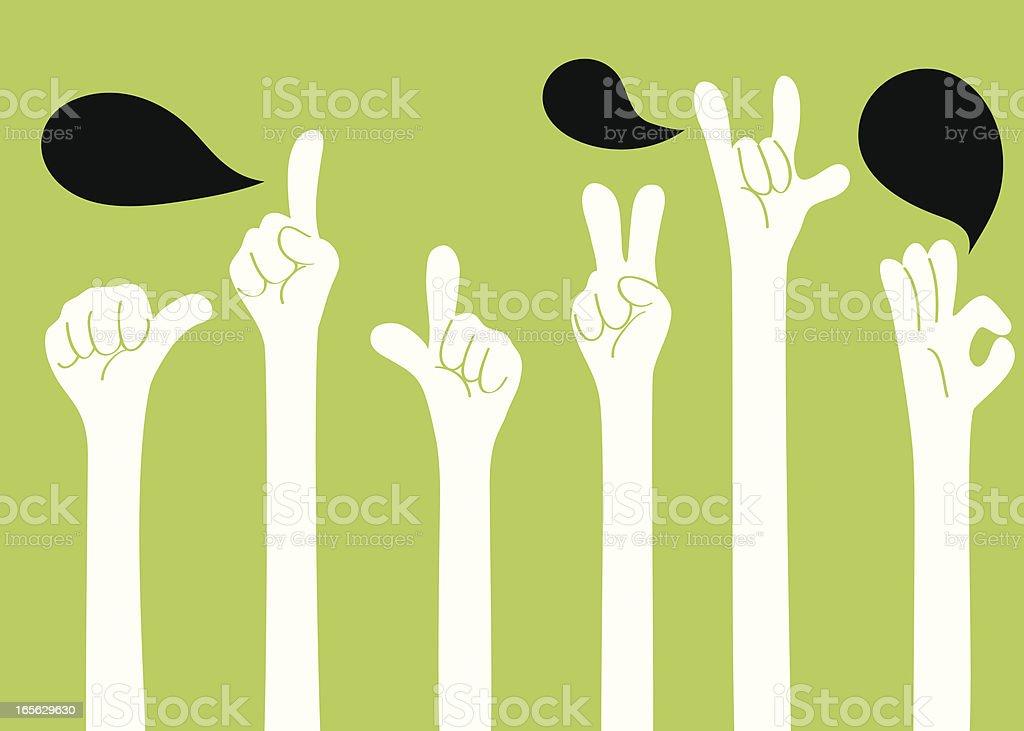 Gesturing(Hand Sign): I love you, ok, good, one, two, YA! vector art illustration