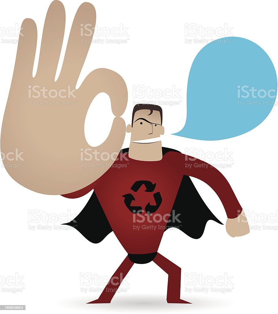 Gesturing(Hand Sign): Superhero showing ok gesture( Perfect! ) royalty-free stock vector art
