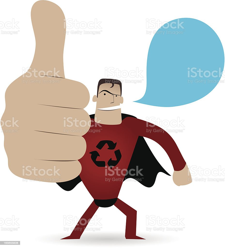 Gesturing(Hand Sign): Superhero showing thumbs up royalty-free stock vector art