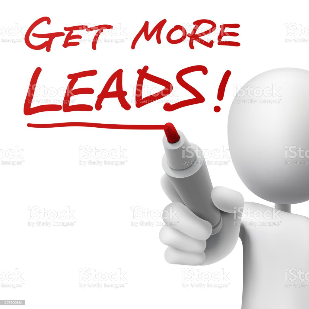 get more leads written by a men vector art illustration