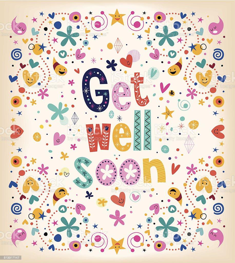 Get well soon card vector art illustration