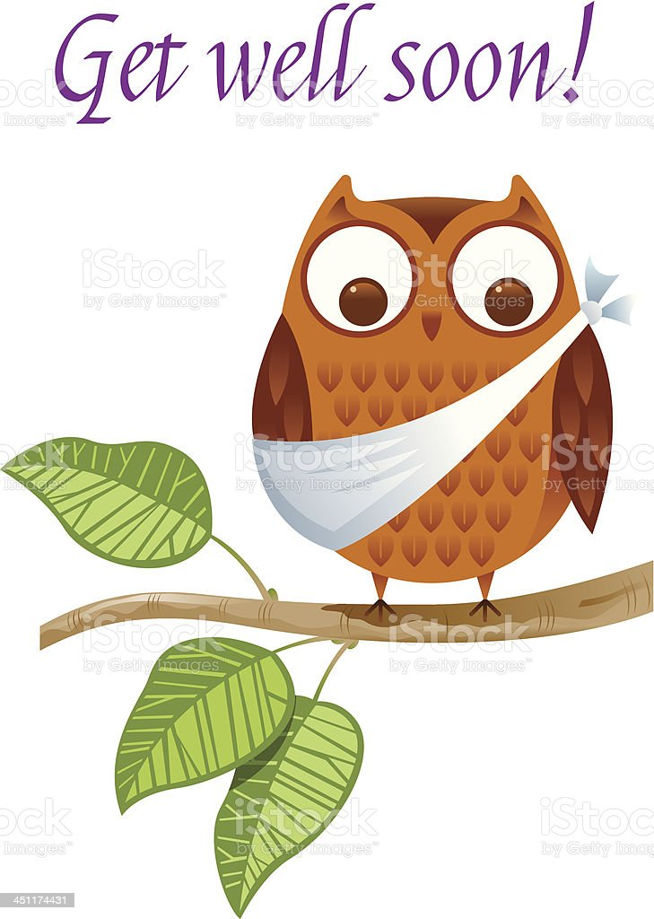 A get well soon card with an injured owl vector art illustration