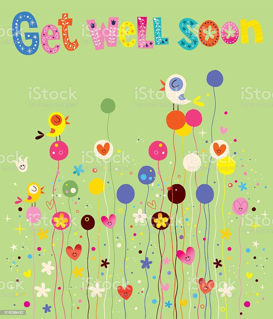 Get well soon card with birds, flowers and hearts vector art illustration