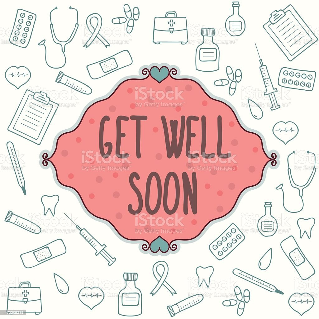 Get well soon card with green medical graphics on white vector art illustration
