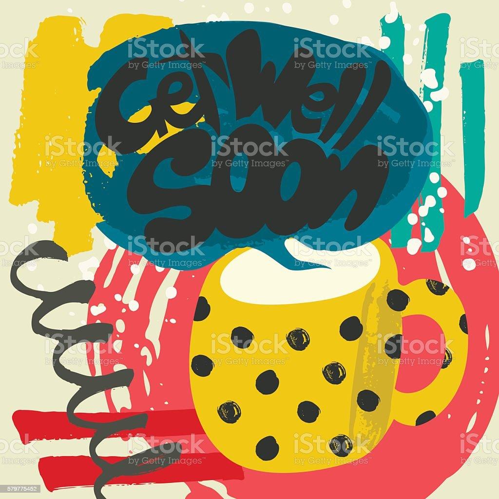 Get Well Soon Decorative Card vector art illustration