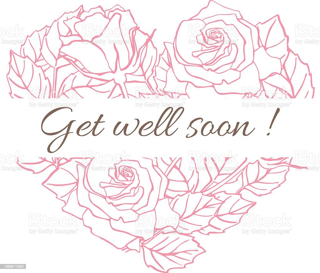 Get well soon. Friendly vector vintage card with flower drawing vector art illustration