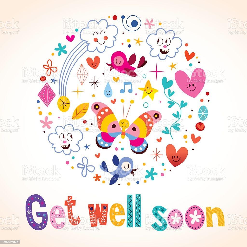 Get well soon greeting card vector art illustration