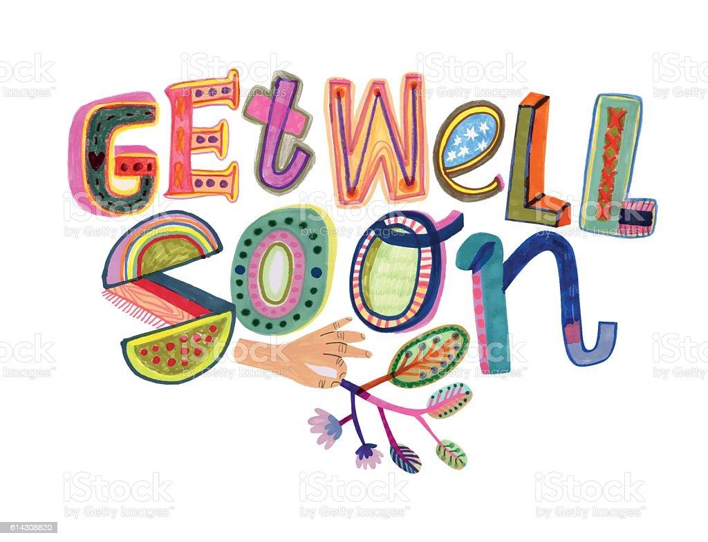 Get well soon message vector art illustration