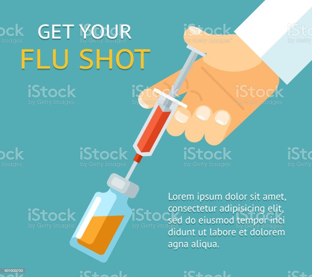 Get your flu shot. Doctor hand with syringe vector art illustration