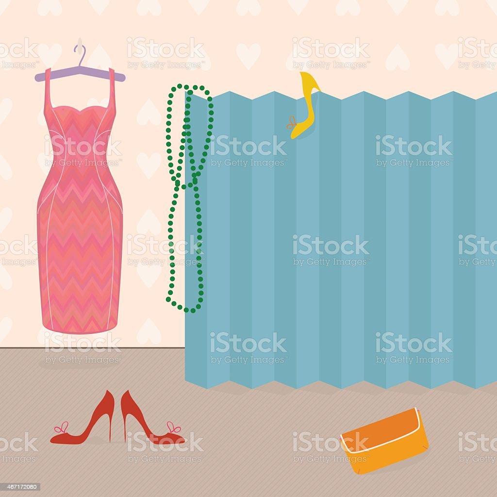 Getting dressed, girl's boudoir vector art illustration