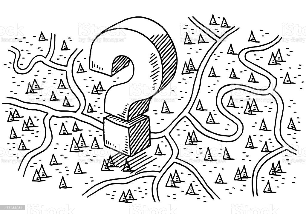 Getting Lost Concept Roads Rural Landscape Drawing vector art illustration
