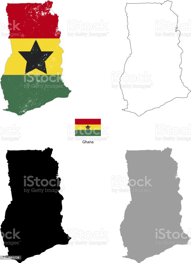 Ghana country black silhouette and with flag on background vector art illustration