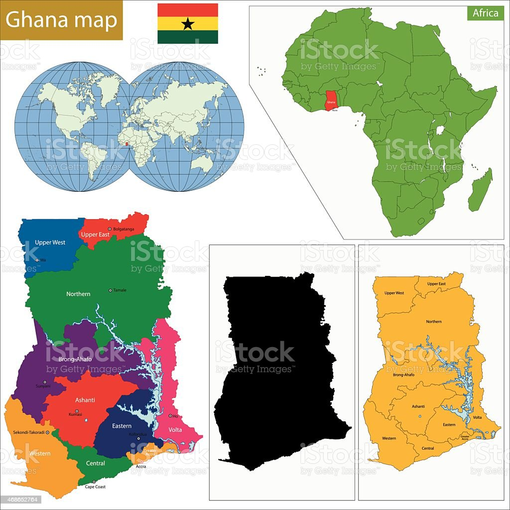 Ghana map vector art illustration