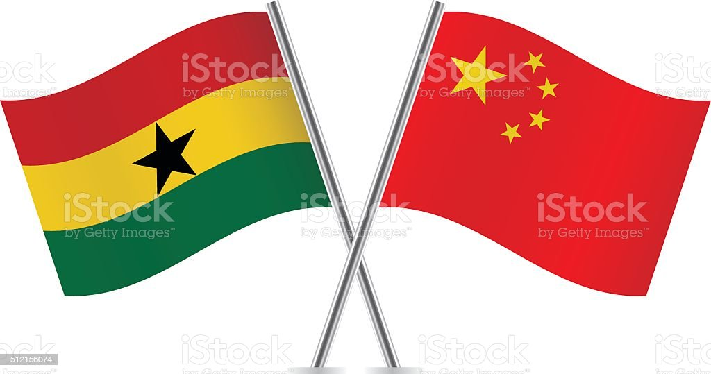 Ghanaian and Chinese flags. Vector. vector art illustration