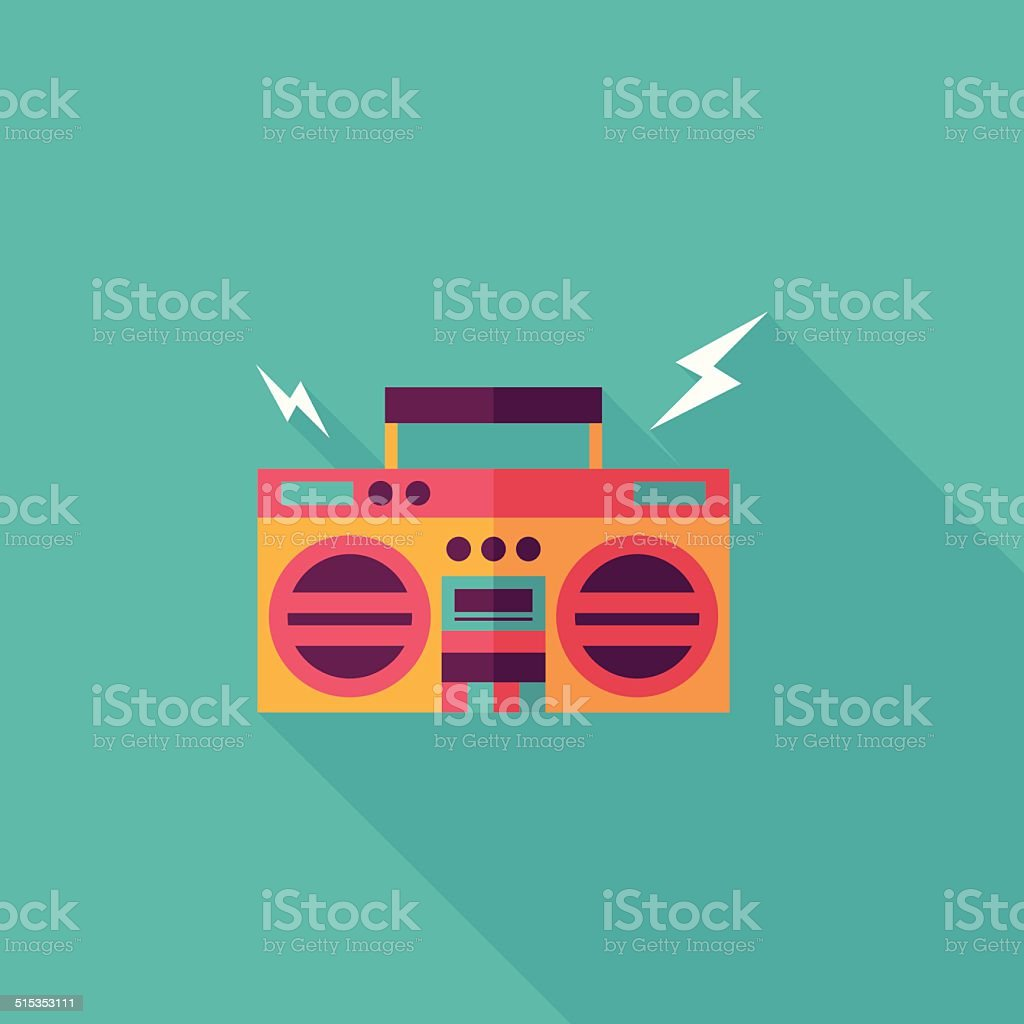 ghetto blaster audio flat icon with long shadow,eps10 vector art illustration