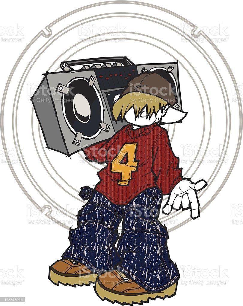 Ghetto blaster kid royalty-free stock vector art