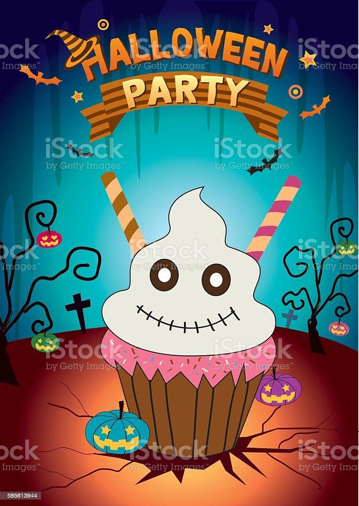 ghost cupcake halloween party vector art illustration