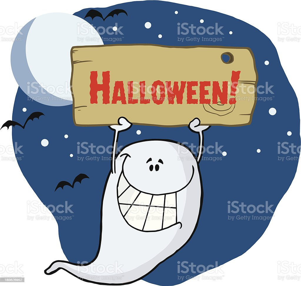 Ghost Holding Up A Blank Sign With Text And Background royalty-free stock vector art