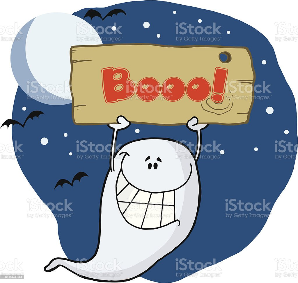 Ghost Holding Up A Sign With Background And Text royalty-free stock vector art