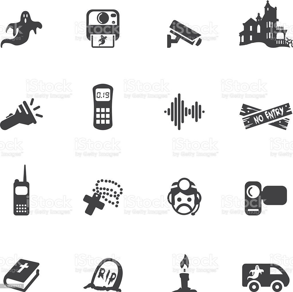 Ghost Hunter Silhouette Icons vector art illustration