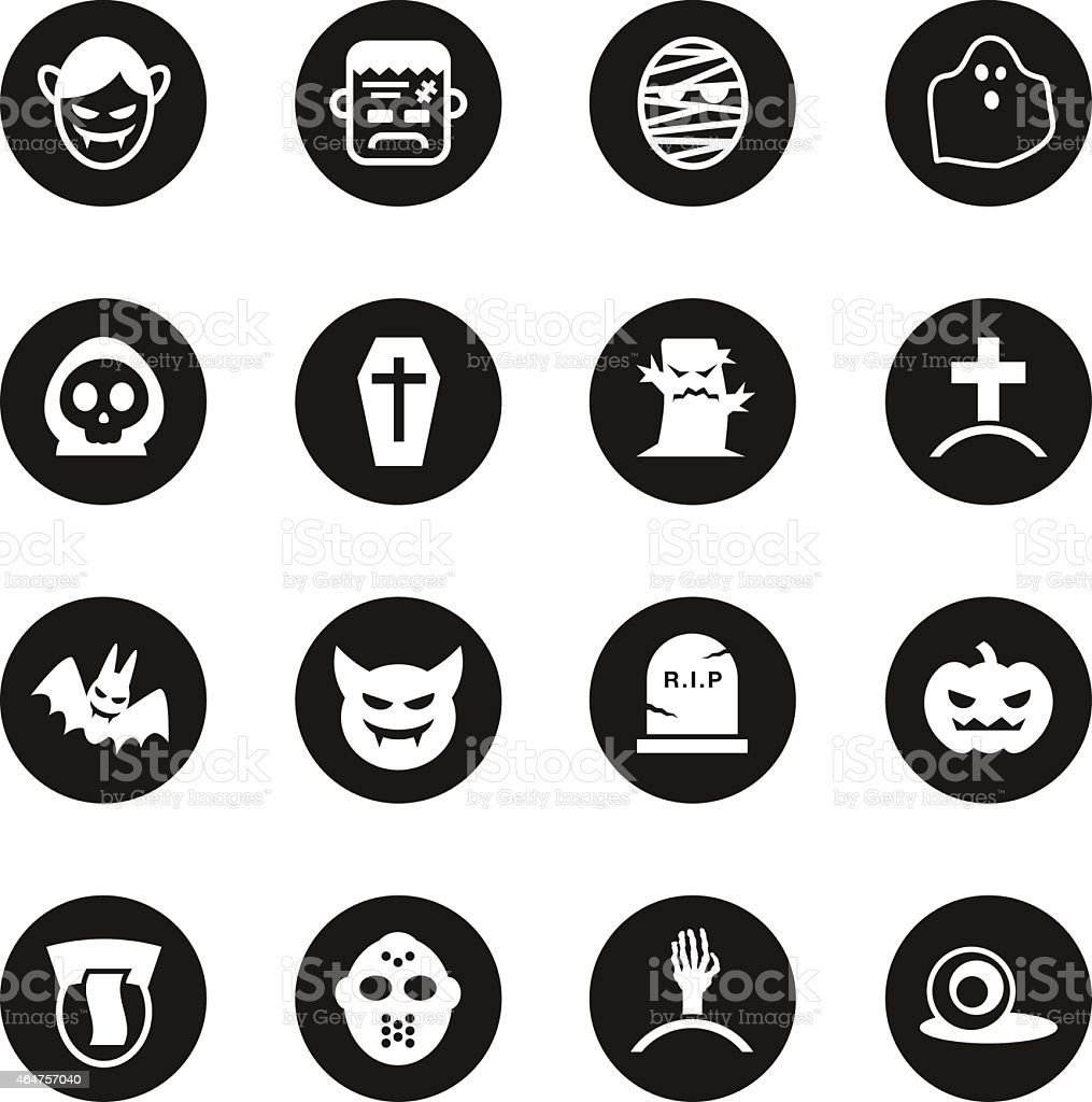 Ghost Icons - Black Circle Series vector art illustration
