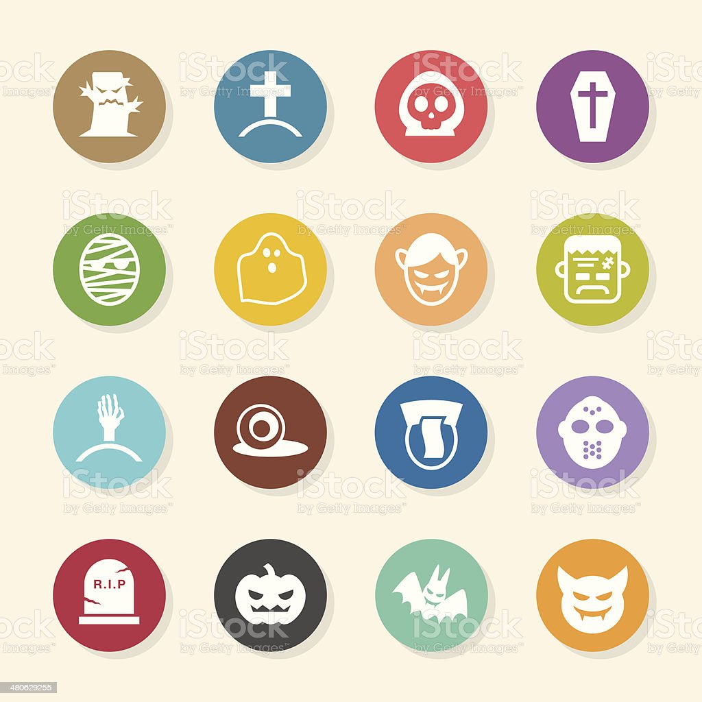 Ghost Icons - Color Circle Series vector art illustration