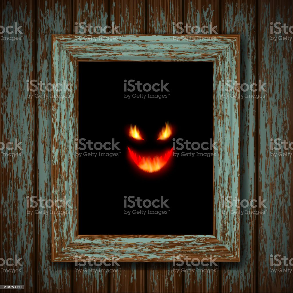 Ghost in the window vector art illustration