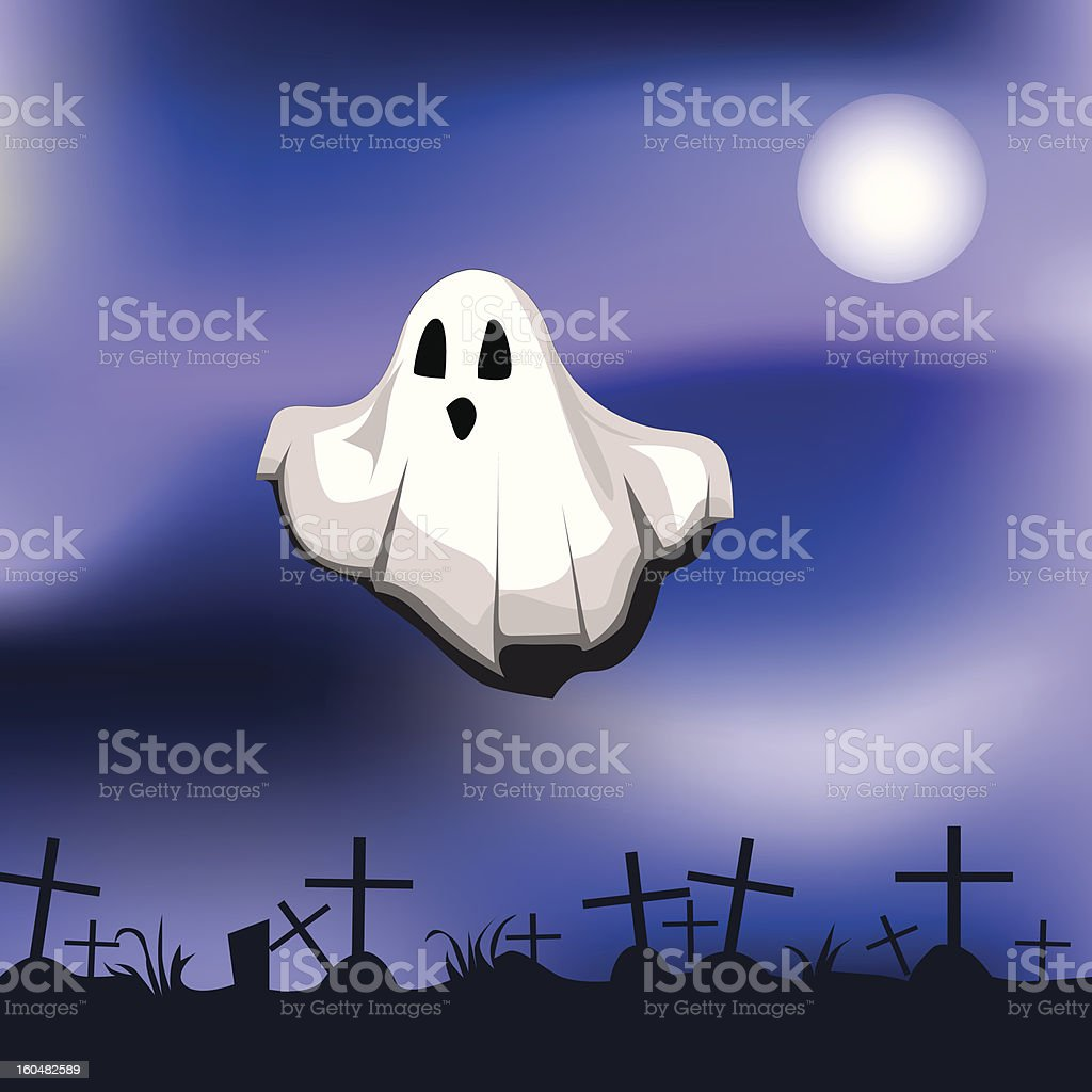 ghost on cemetery royalty-free stock vector art